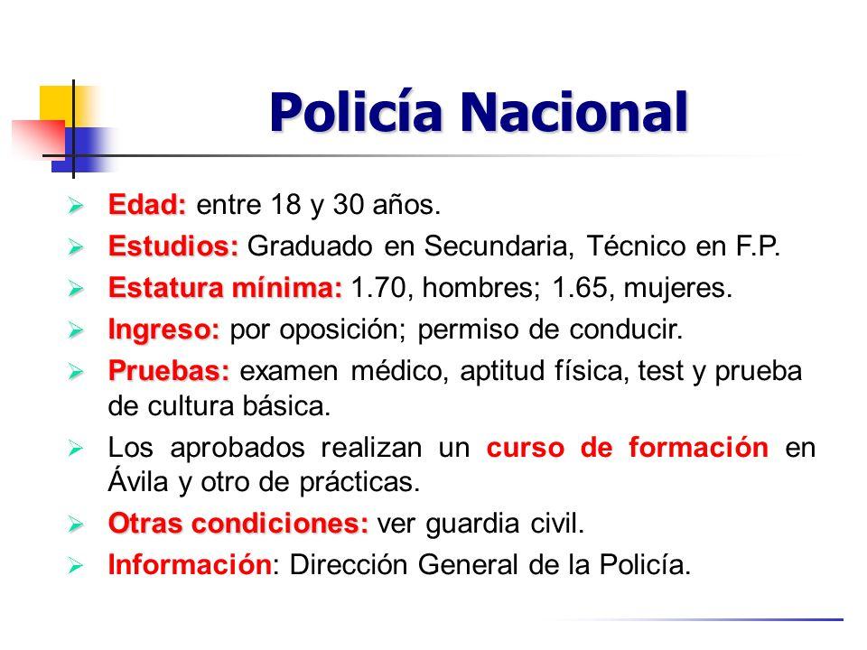 Policía Nacional Edad: entre 18 y 30 años.