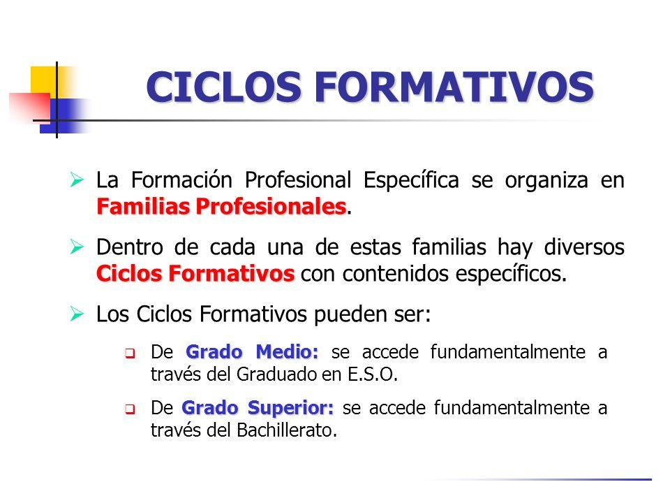 CICLOS FORMATIVOS La Formación Profesional Específica se organiza en Familias Profesionales.