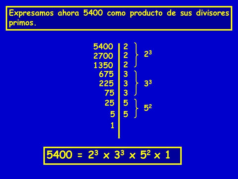 Expresamos ahora 5400 como producto de sus divisores primos.