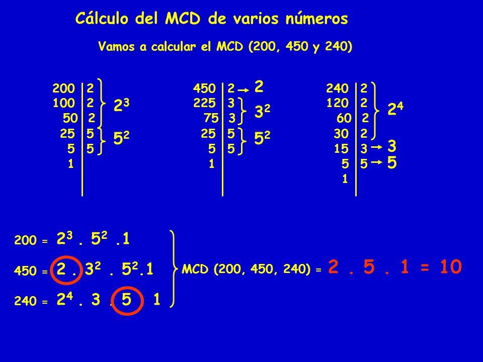 Cálculo del MCD de varios números