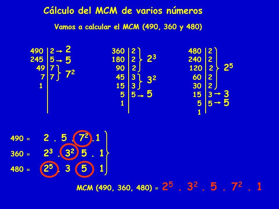 Cálculo del MCM de varios números