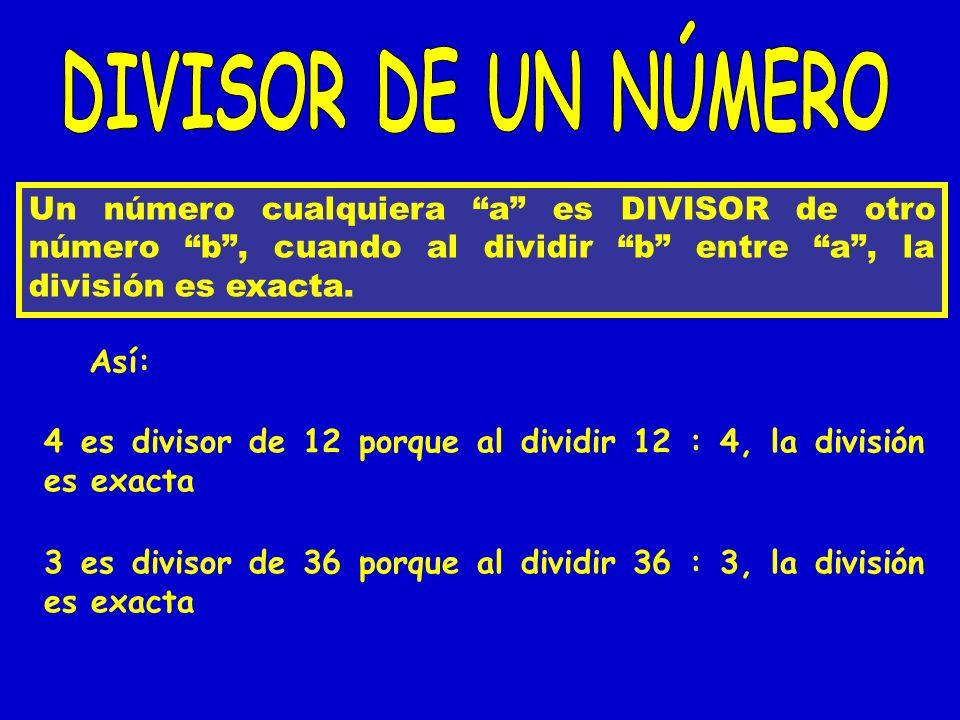 DIVISOR DE UN NÚMERO Un número cualquiera a es DIVISOR de otro número b , cuando al dividir b entre a , la división es exacta.
