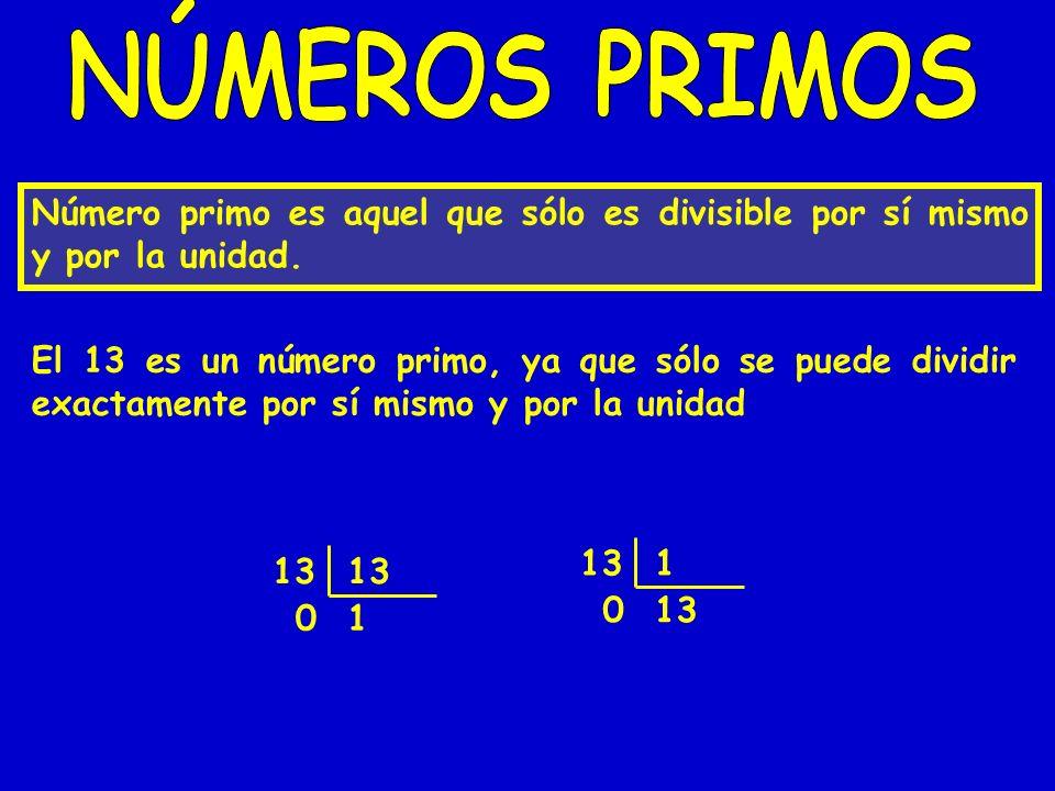NÚMEROS PRIMOS Número primo es aquel que sólo es divisible por sí mismo y por la unidad.