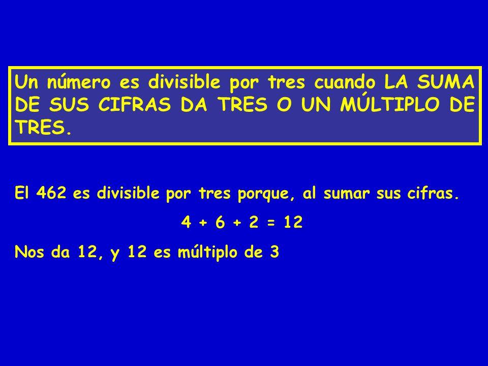 Un número es divisible por tres cuando LA SUMA DE SUS CIFRAS DA TRES O UN MÚLTIPLO DE TRES.