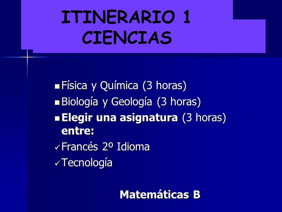 ITINERARIO 1 CIENCIAS Física y Química (3 horas)