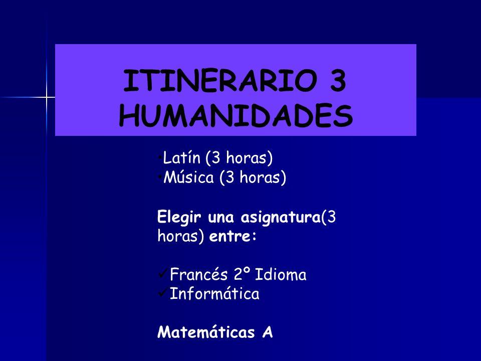 ITINERARIO 3 HUMANIDADES