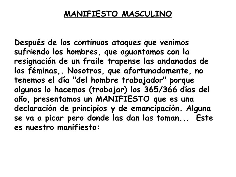 MANIFIESTO MASCULINO
