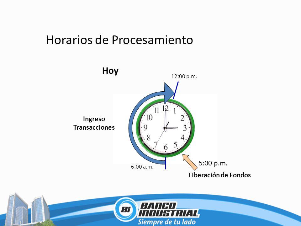 Horarios de Procesamiento