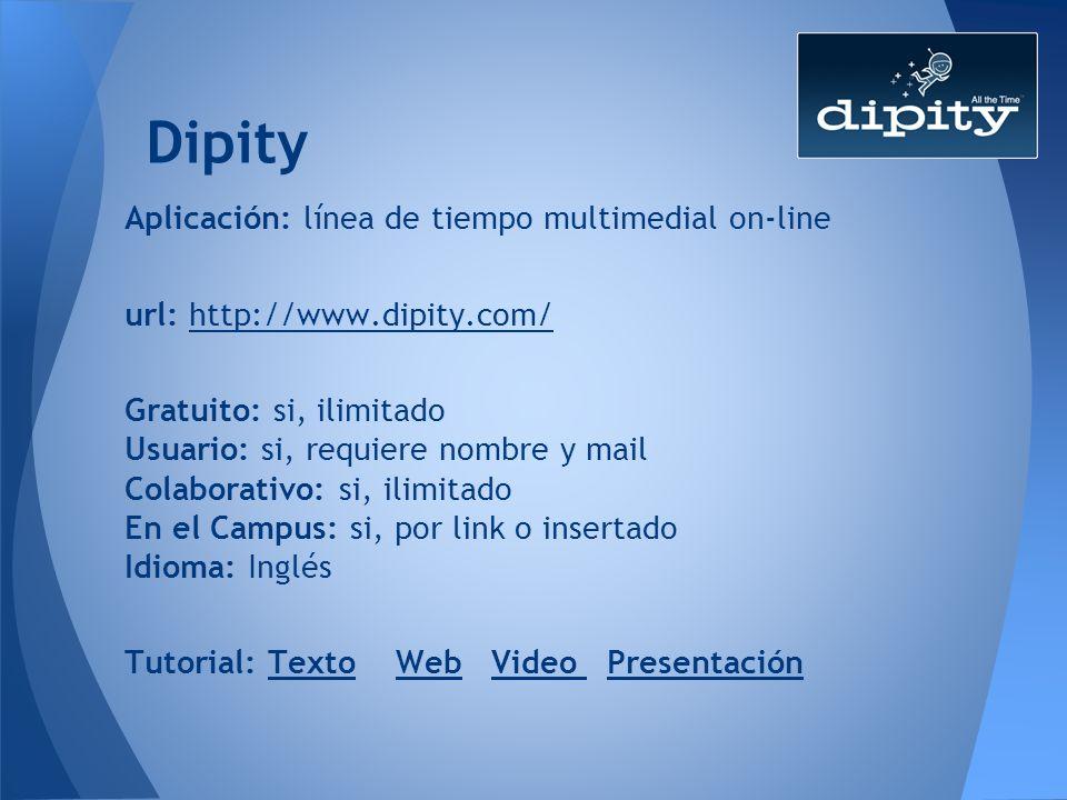 Dipity Aplicación: línea de tiempo multimedial on-line