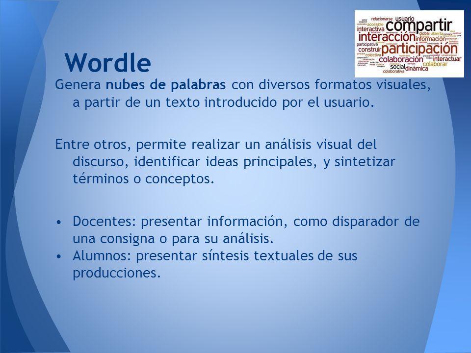 WordleGenera nubes de palabras con diversos formatos visuales, a partir de un texto introducido por el usuario.