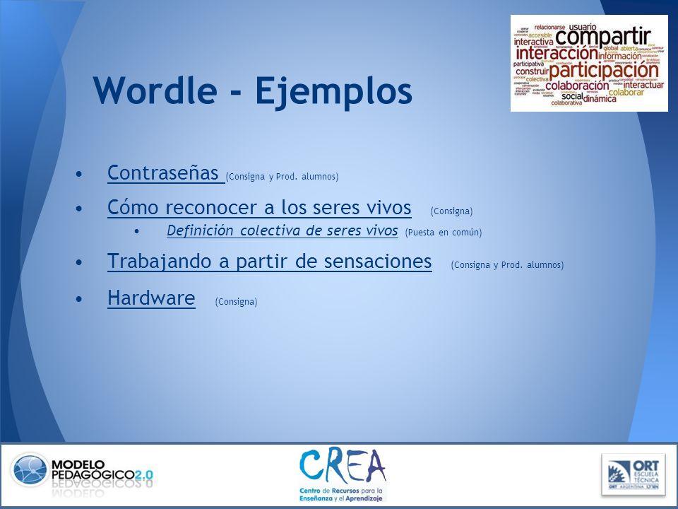 Wordle - Ejemplos Contraseñas (Consigna y Prod. alumnos)