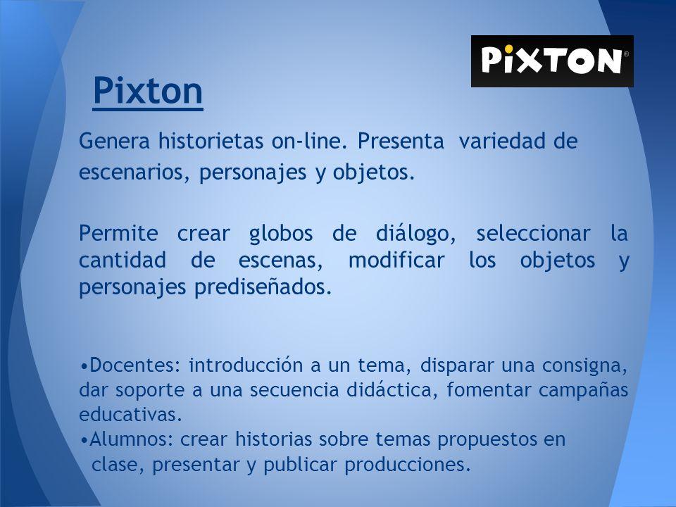 Pixton Genera historietas on-line. Presenta variedad de escenarios, personajes y objetos.