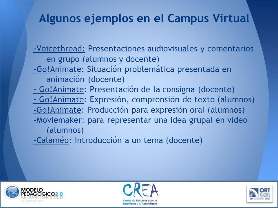 Algunos ejemplos en el Campus Virtual