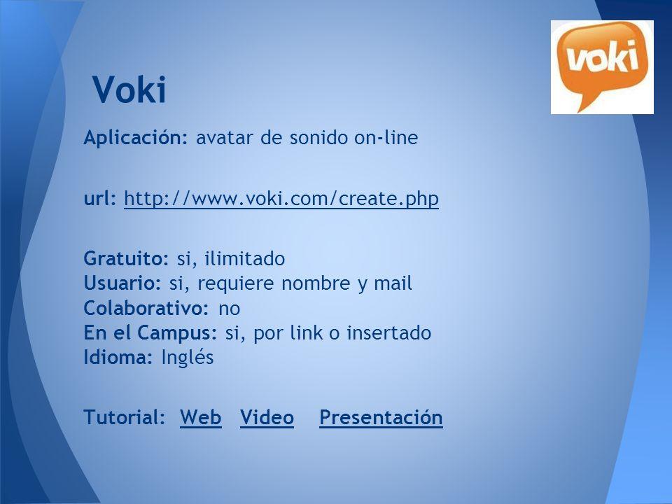 Voki Aplicación: avatar de sonido on-line