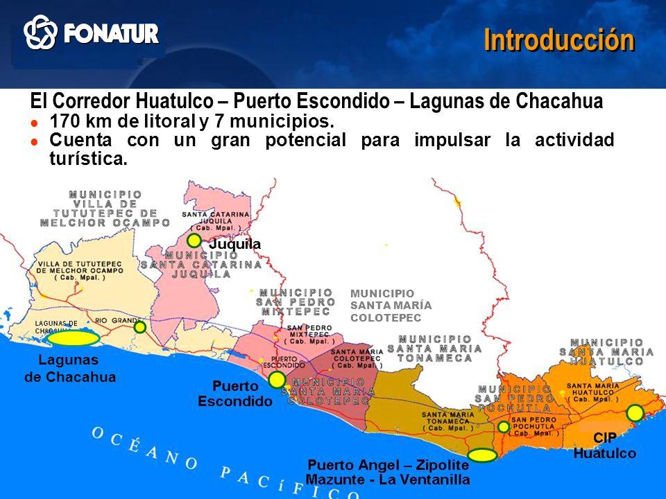 IntroducciónLagunas. de. Chacahua. El Corredor Huatulco – Puerto Escondido – Lagunas de Chacahua. 170 km de litoral y 7 municipios.