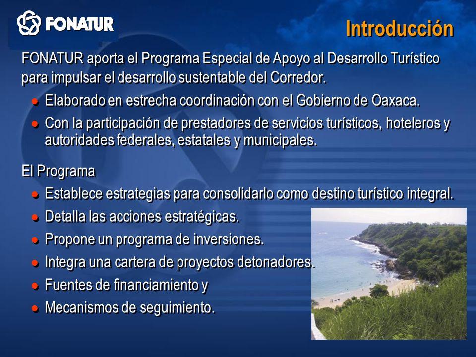 Introducción FONATUR aporta el Programa Especial de Apoyo al Desarrollo Turístico para impulsar el desarrollo sustentable del Corredor.