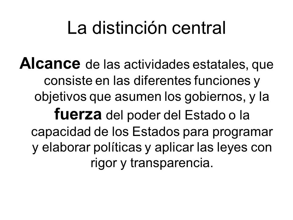 La distinción central