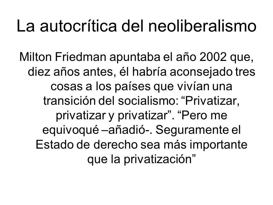 La autocrítica del neoliberalismo