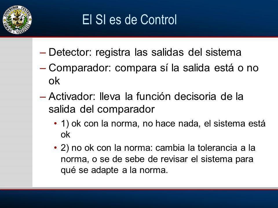 El SI es de Control Detector: registra las salidas del sistema