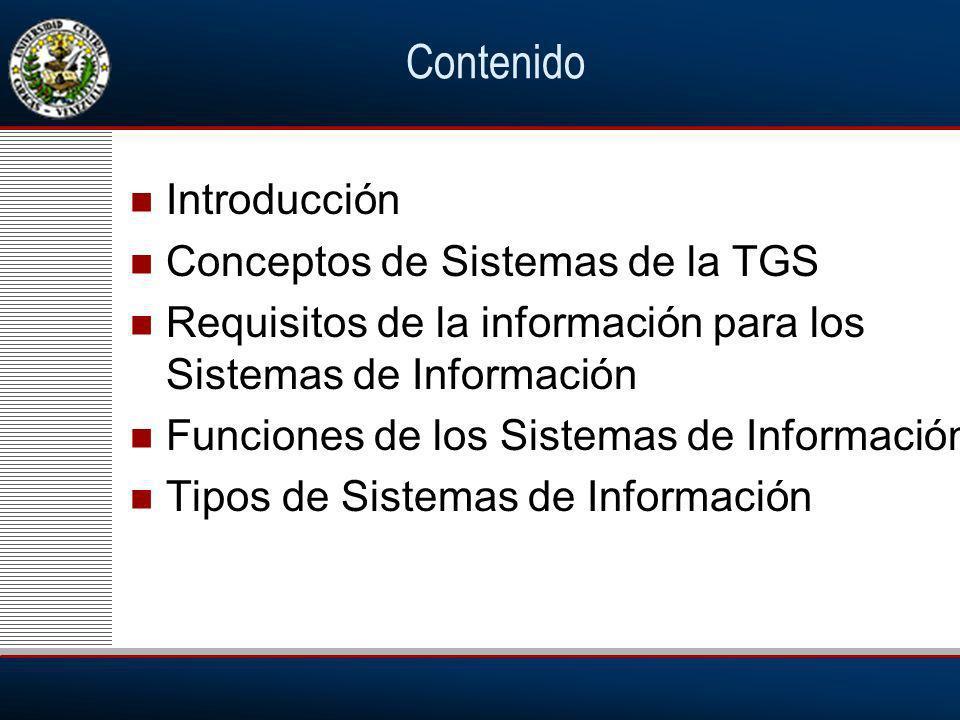 Contenido Introducción Conceptos de Sistemas de la TGS