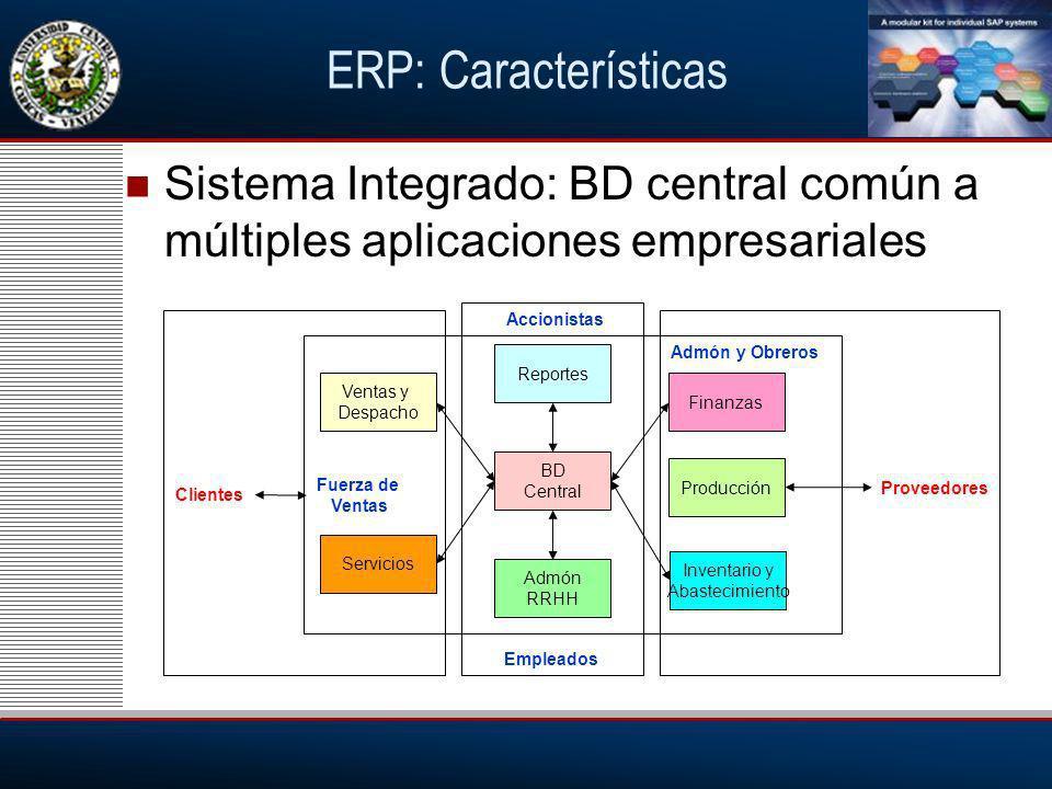 ERP: Características Sistema Integrado: BD central común a múltiples aplicaciones empresariales. Accionistas.