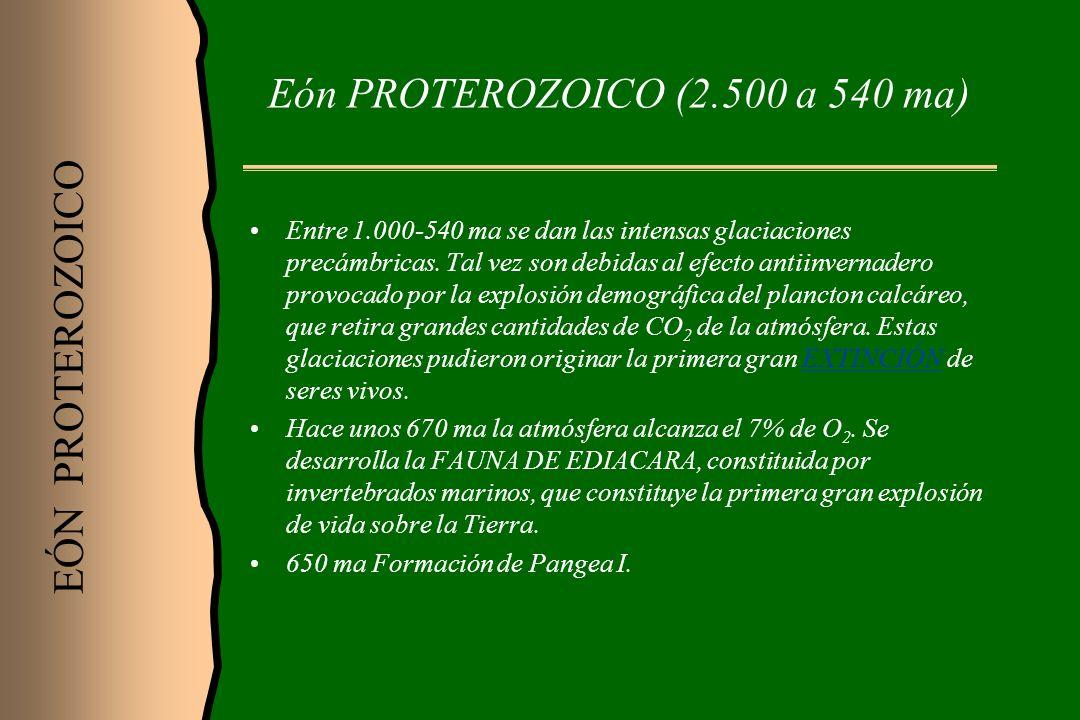 Eón PROTEROZOICO (2.500 a 540 ma)