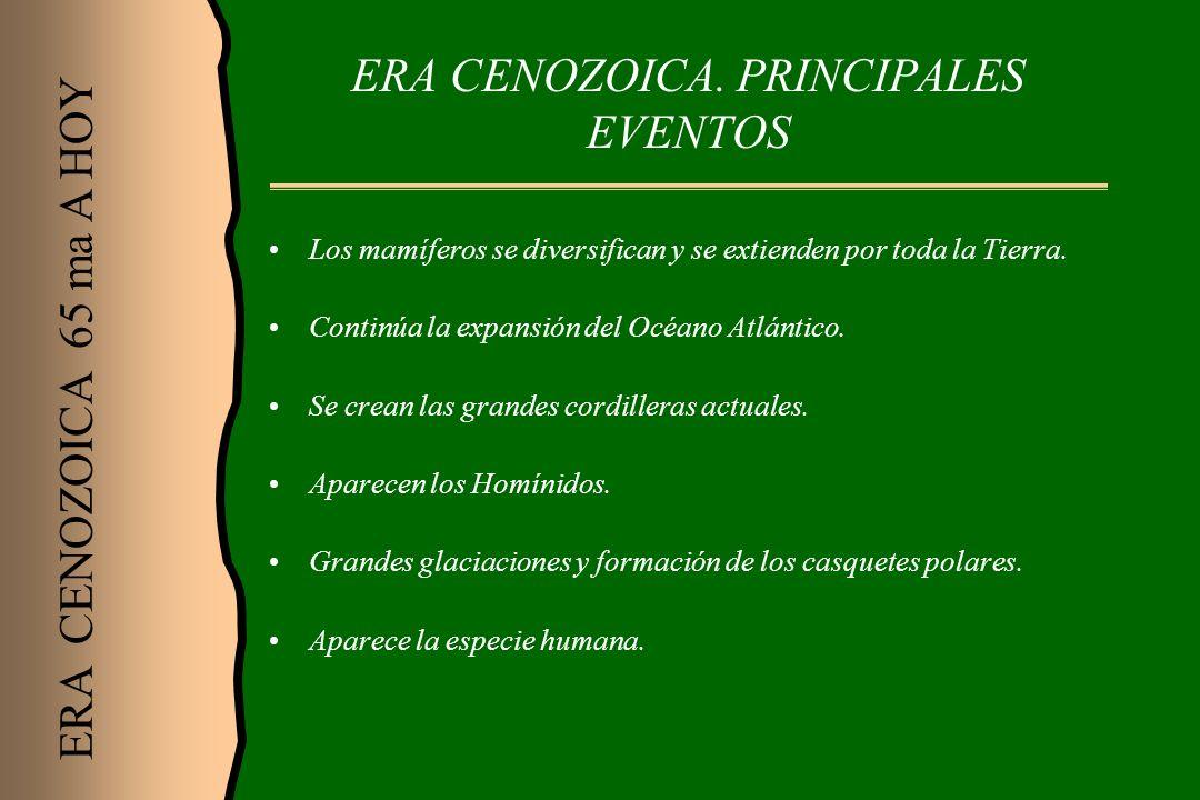 ERA CENOZOICA. PRINCIPALES EVENTOS
