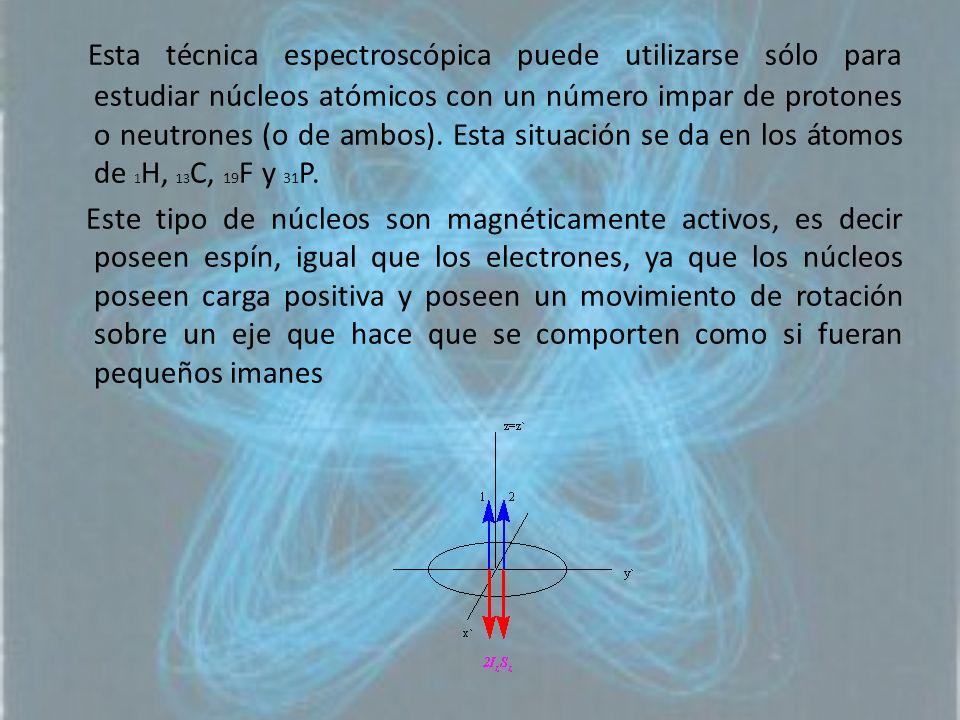 Esta técnica espectroscópica puede utilizarse sólo para estudiar núcleos atómicos con un número impar de protones o neutrones (o de ambos). Esta situación se da en los átomos de 1H, 13C, 19F y 31P.