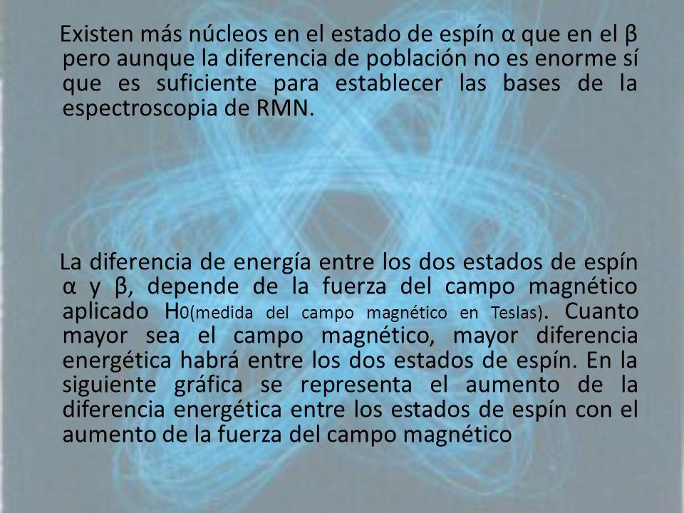 Existen más núcleos en el estado de espín α que en el β pero aunque la diferencia de población no es enorme sí que es suficiente para establecer las bases de la espectroscopia de RMN.