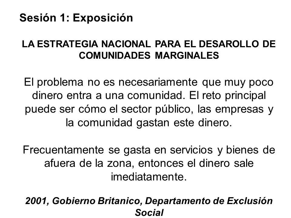 Sesión 1: Exposición LA ESTRATEGIA NACIONAL PARA EL DESAROLLO DE COMUNIDADES MARGINALES.