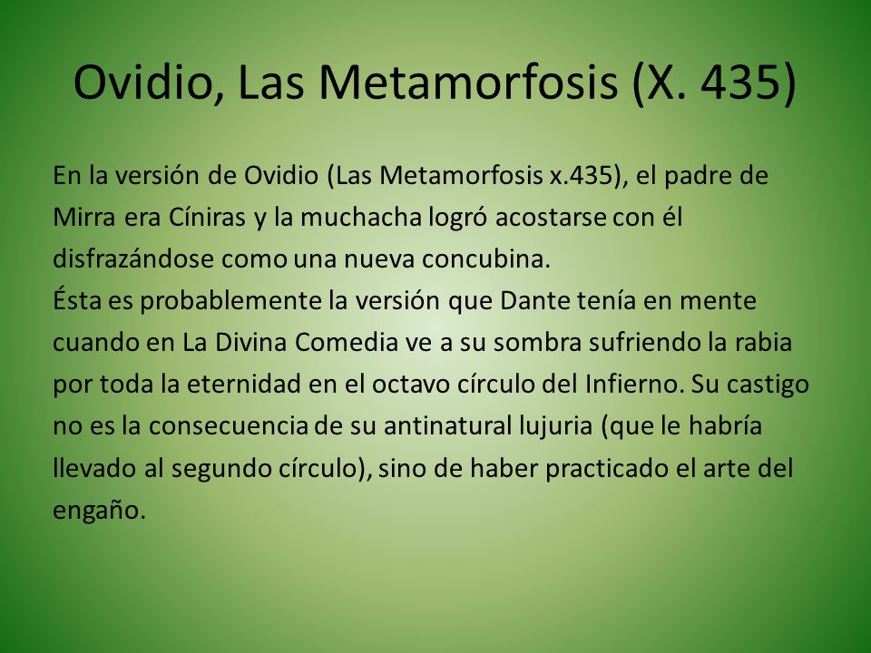 Ovidio, Las Metamorfosis (X. 435)
