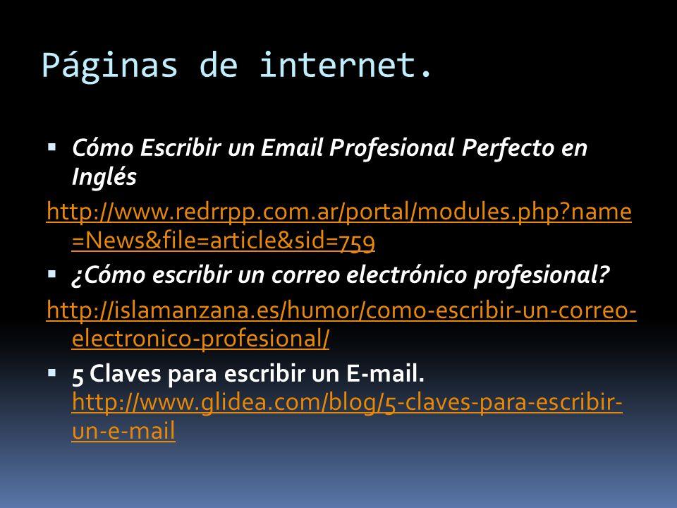 Páginas de internet. Cómo Escribir un Email Profesional Perfecto en Inglés.