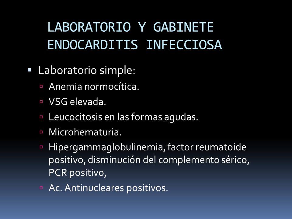 LABORATORIO Y GABINETE ENDOCARDITIS INFECCIOSA