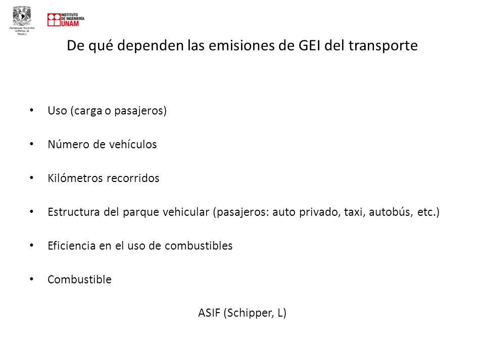 De qué dependen las emisiones de GEI del transporte
