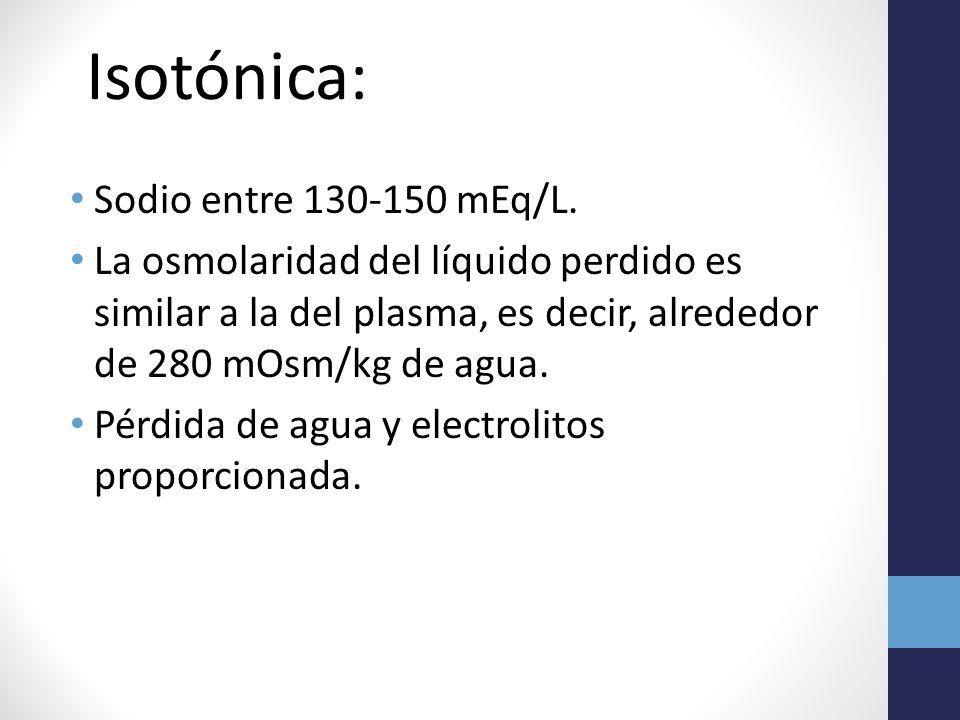 Isotónica: Sodio entre 130-150 mEq/L.