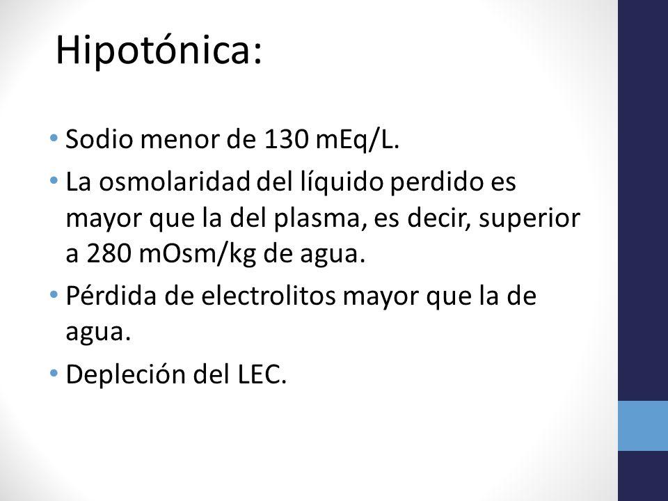 Hipotónica: Sodio menor de 130 mEq/L.