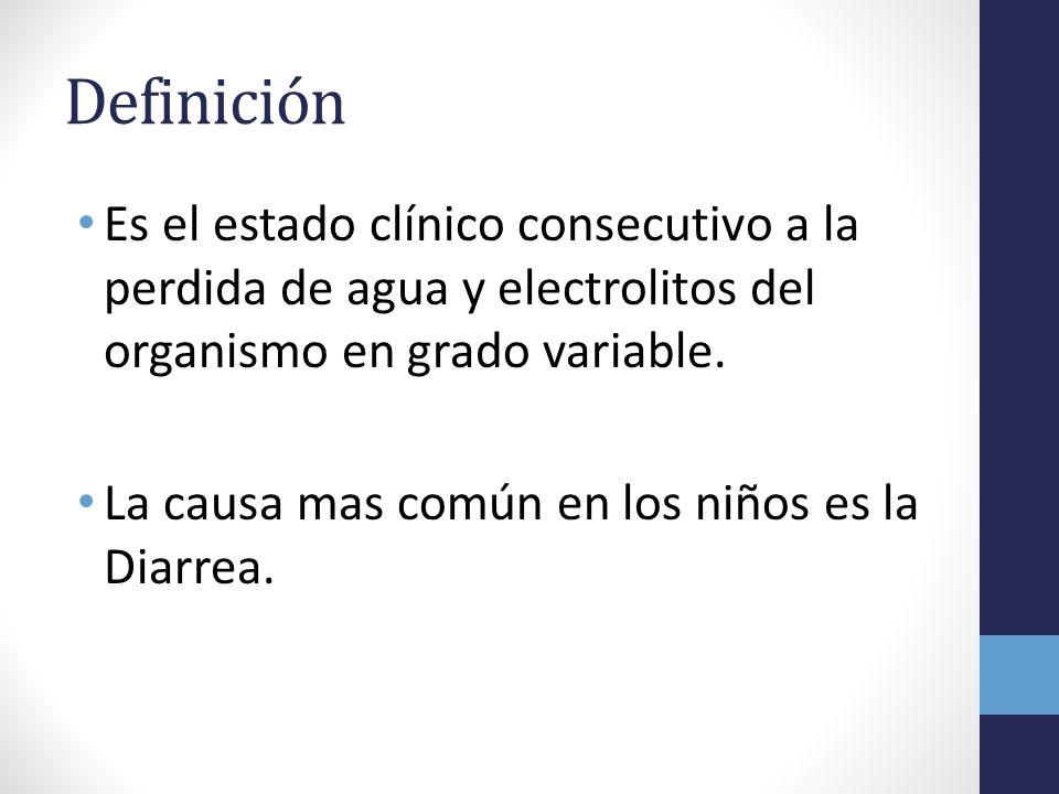 Definición Es el estado clínico consecutivo a la perdida de agua y electrolitos del organismo en grado variable.