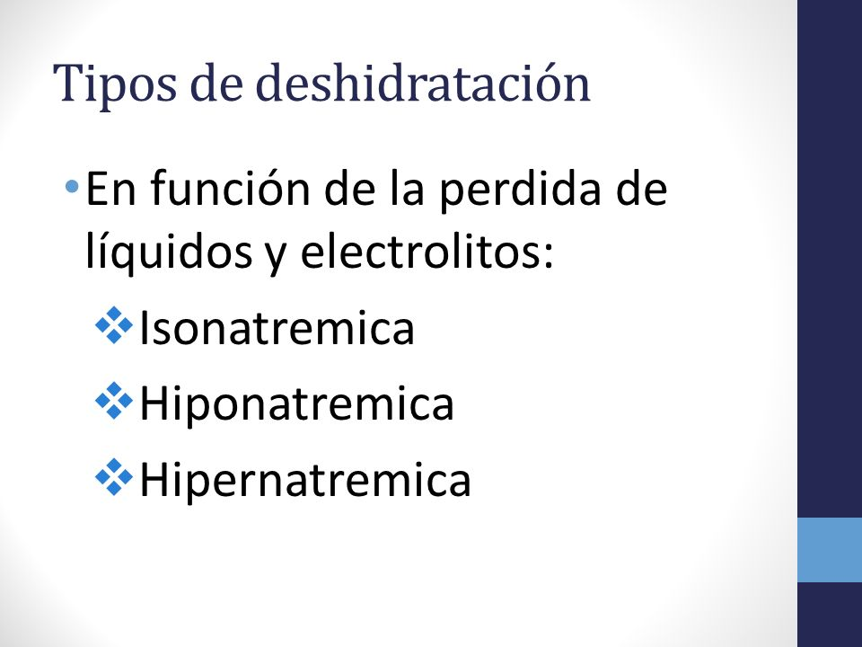 Tipos de deshidratación