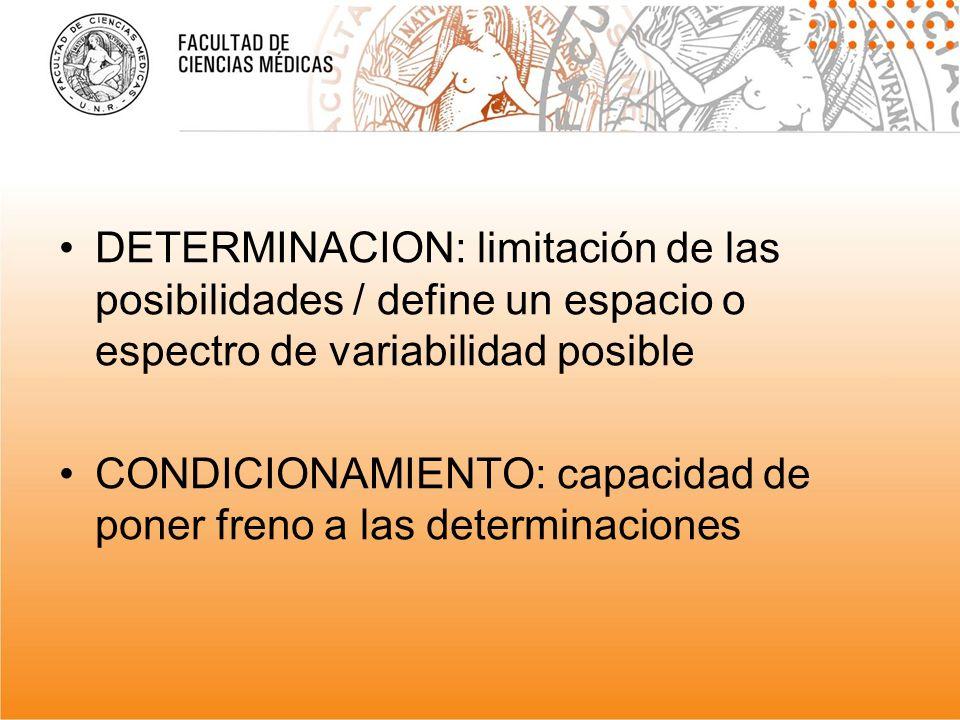 DETERMINACION: limitación de las posibilidades / define un espacio o espectro de variabilidad posible