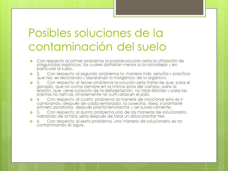 Posibles soluciones de la contaminación del suelo
