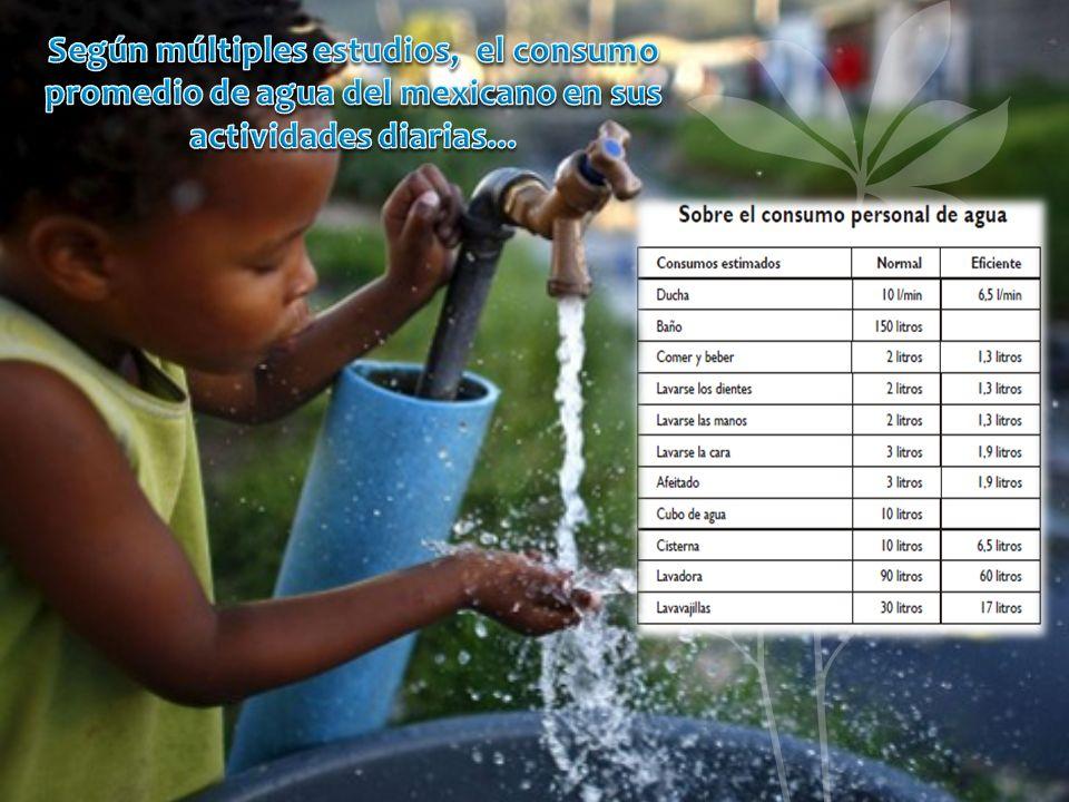 Según múltiples estudios, el consumo promedio de agua del mexicano en sus actividades diarias...