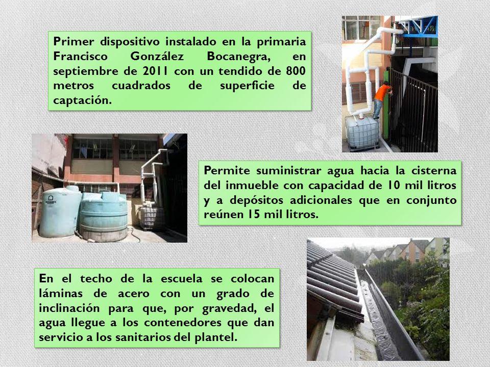 Primer dispositivo instalado en la primaria Francisco González Bocanegra, en septiembre de 2011 con un tendido de 800 metros cuadrados de superficie de captación.