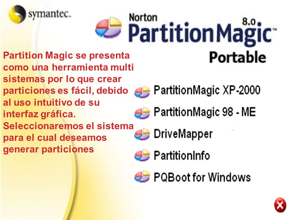 Partition Magic se presenta como una herramienta multi sistemas por lo que crear particiones es fácil, debido al uso intuitivo de su interfaz gráfica.