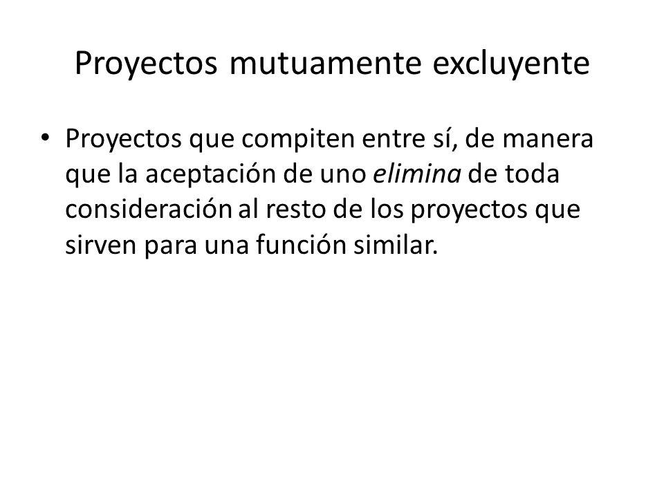 Proyectos mutuamente excluyente
