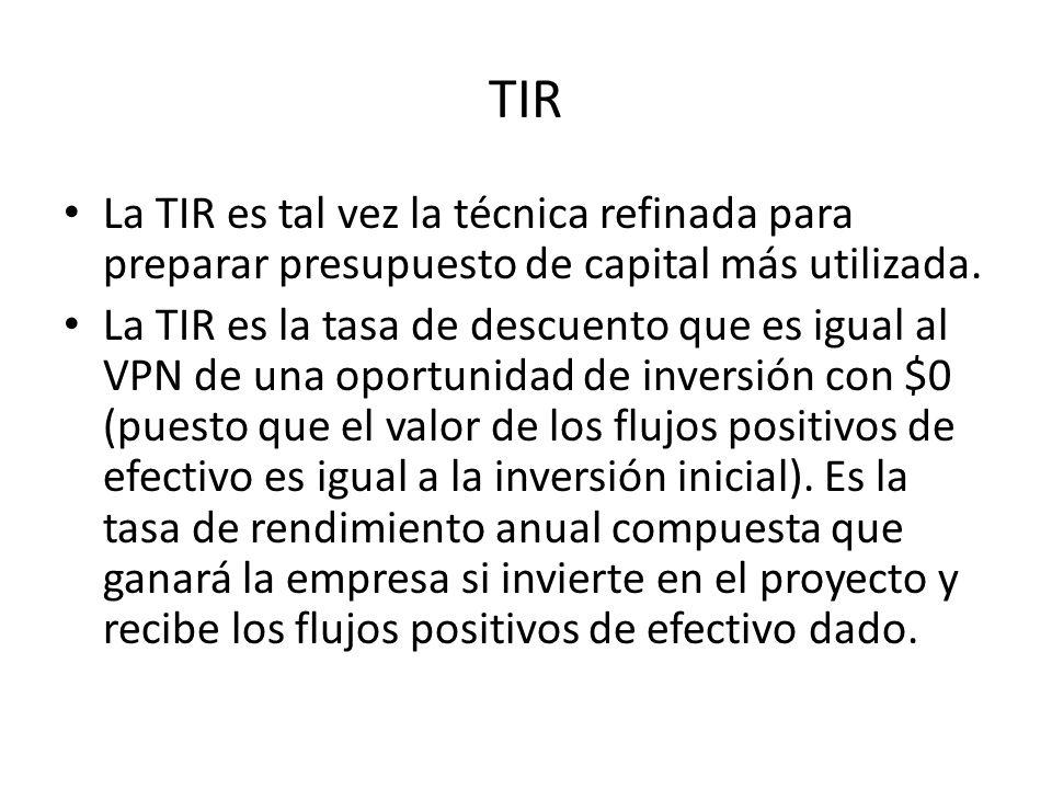TIR La TIR es tal vez la técnica refinada para preparar presupuesto de capital más utilizada.