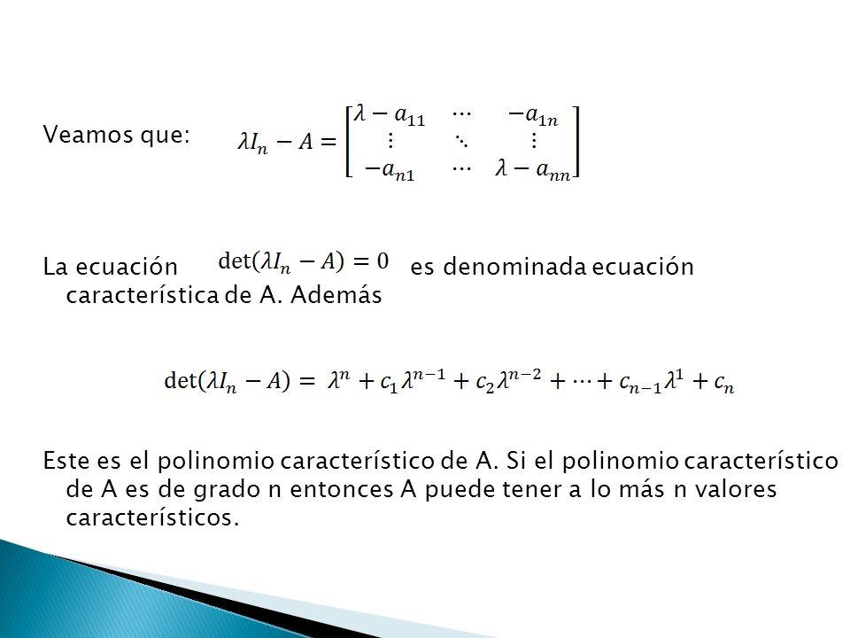 Veamos que: La ecuación es denominada ecuación característica de A