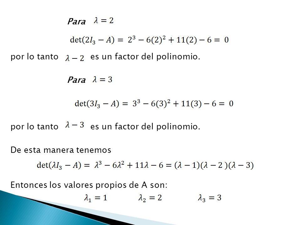 Para por lo tanto es un factor del polinomio