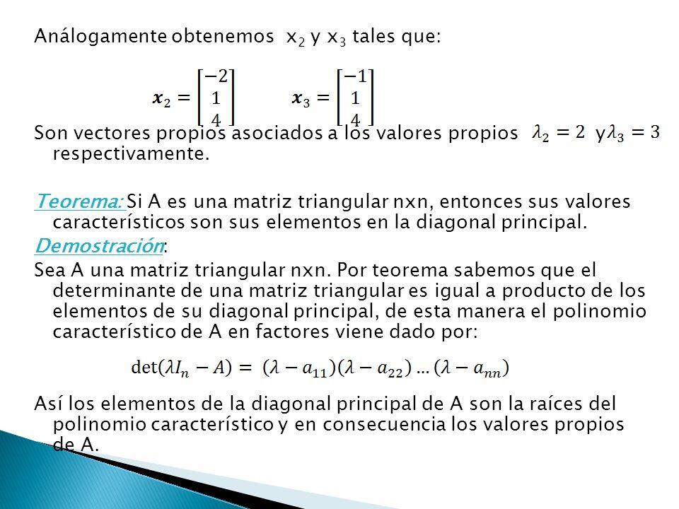 Análogamente obtenemos x2 y x3 tales que: Son vectores propios asociados a los valores propios y respectivamente.