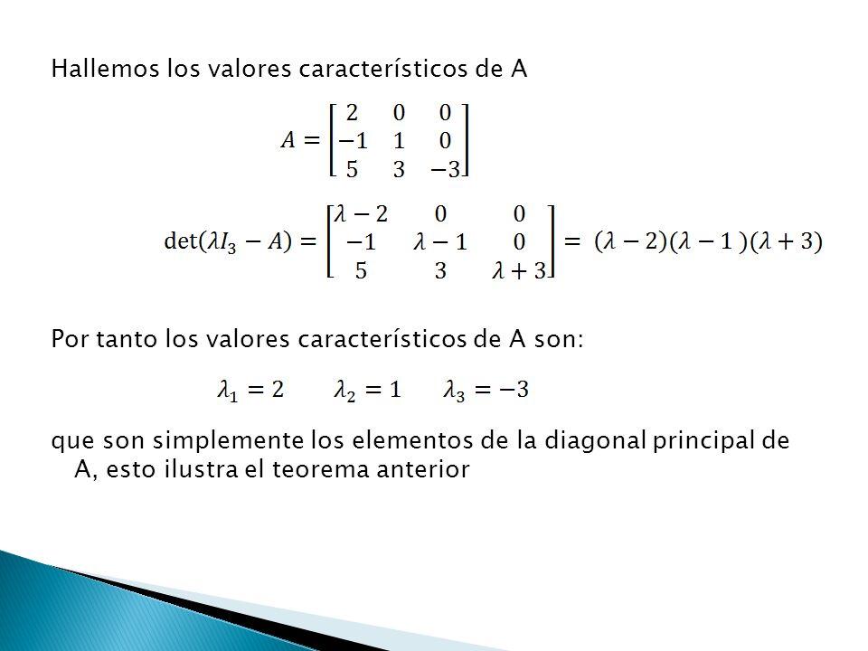 Hallemos los valores característicos de A Por tanto los valores característicos de A son: que son simplemente los elementos de la diagonal principal de A, esto ilustra el teorema anterior