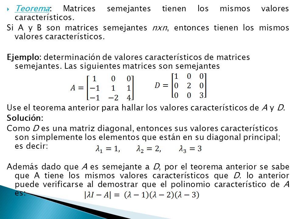 Teorema: Matrices semejantes tienen los mismos valores característicos.